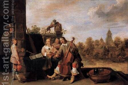 The Painter and His Family by David The Younger Teniers - Reproduction Oil Painting