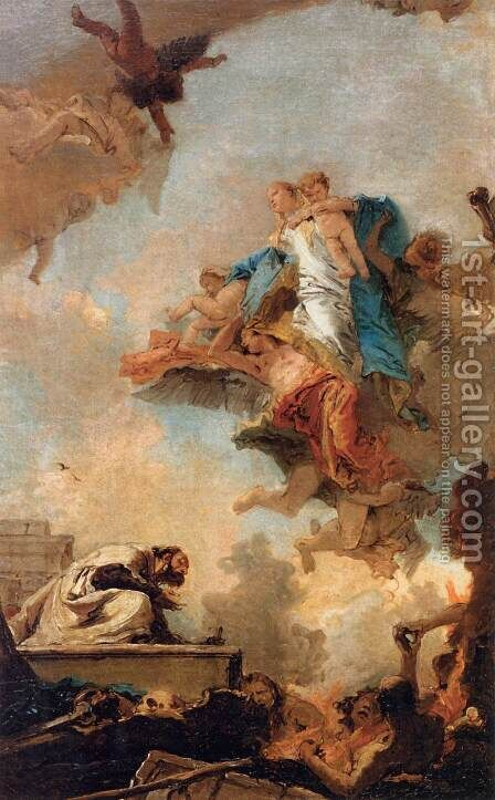 Apparition of the Virgin to St Simon Stock 3 by Giovanni Battista Tiepolo - Reproduction Oil Painting