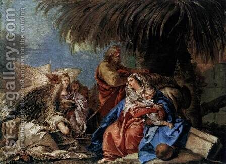 The Rest on the Flight to Egypt by Giovanni Domenico Tiepolo - Reproduction Oil Painting