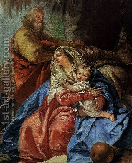 The Rest on the Flight to Egypt (detail) by Giovanni Domenico Tiepolo - Reproduction Oil Painting