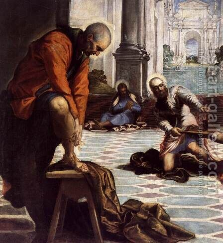 Christ Washing the Feet of His Disciples (detail) by Jacopo Tintoretto (Robusti) - Reproduction Oil Painting
