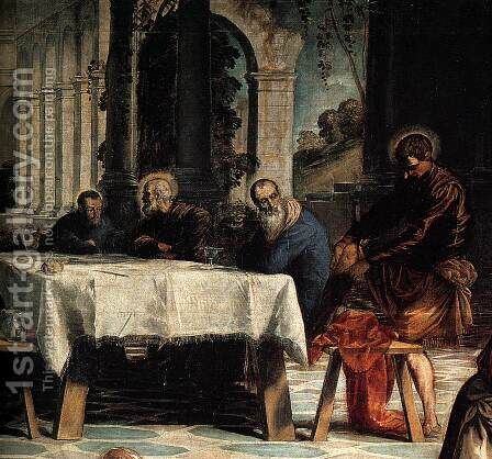 Christ Washing the Feet of His Disciples (detail) 2 by Jacopo Tintoretto (Robusti) - Reproduction Oil Painting