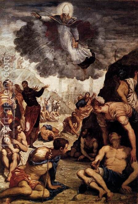 The Miracle of St Augustine 2 by Jacopo Tintoretto (Robusti) - Reproduction Oil Painting