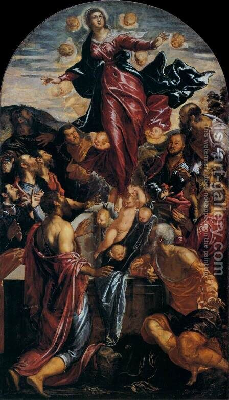 Assumption of the Virgin 2 by Jacopo Tintoretto (Robusti) - Reproduction Oil Painting
