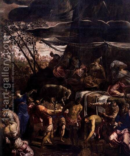 Moses Receiving the Tables of the Law (detail) 2 by Jacopo Tintoretto (Robusti) - Reproduction Oil Painting