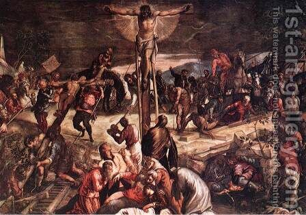 Crucifixion (detail) 3 by Jacopo Tintoretto (Robusti) - Reproduction Oil Painting