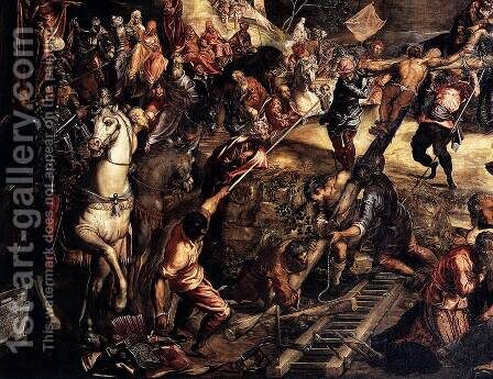 The Crucifixion (detail) by Jacopo Tintoretto (Robusti) - Reproduction Oil Painting