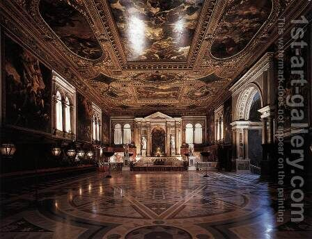 View of the Sala Superiore by Jacopo Tintoretto (Robusti) - Reproduction Oil Painting