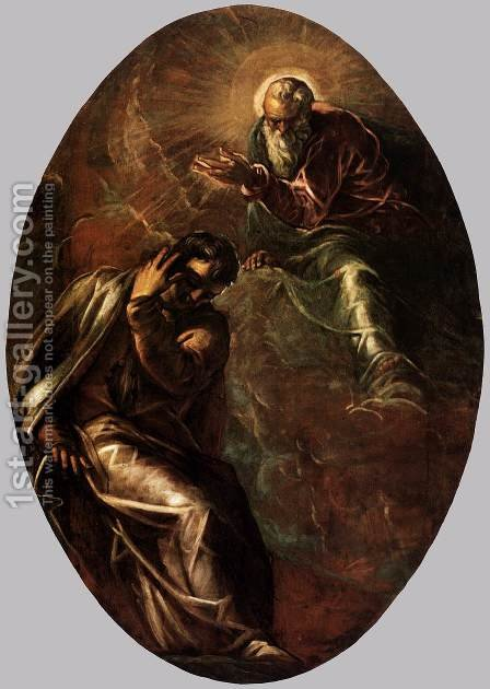 The Eternal Father Appears to Moses 2 by Jacopo Tintoretto (Robusti) - Reproduction Oil Painting
