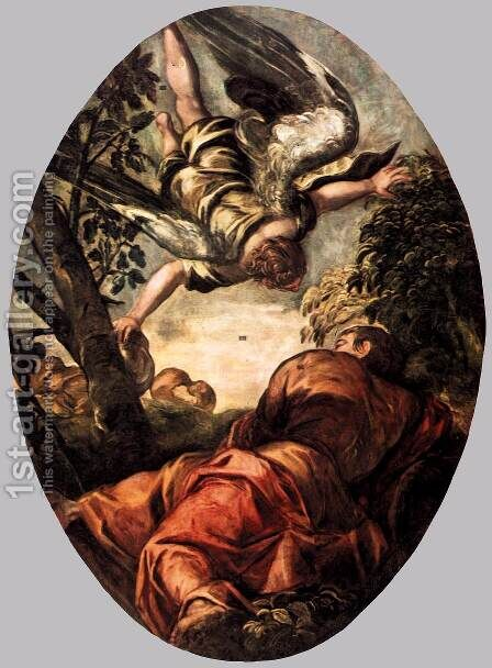 Elijah Fed by the Angel 2 by Jacopo Tintoretto (Robusti) - Reproduction Oil Painting