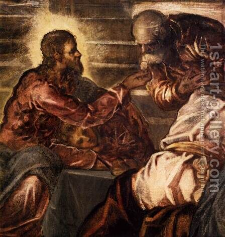 The Last Supper (detail) 2 by Jacopo Tintoretto (Robusti) - Reproduction Oil Painting