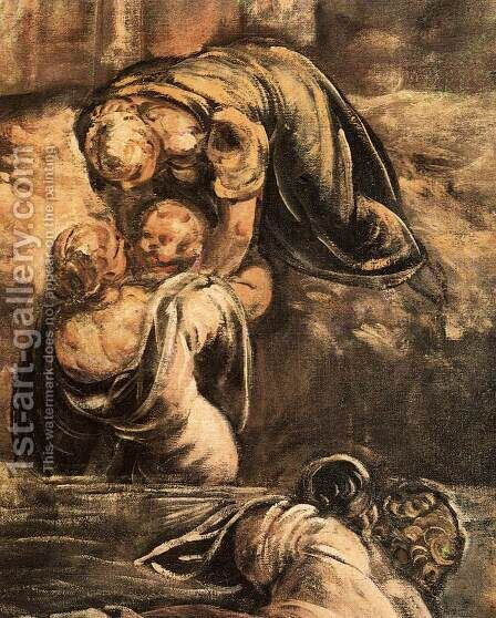 The Massacre of the Innocents (detail) 3 by Jacopo Tintoretto (Robusti) - Reproduction Oil Painting