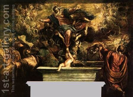 The Assumption of the Virgin 2 by Jacopo Tintoretto (Robusti) - Reproduction Oil Painting
