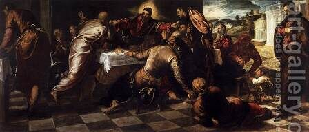 Last Supper 4 by Jacopo Tintoretto (Robusti) - Reproduction Oil Painting
