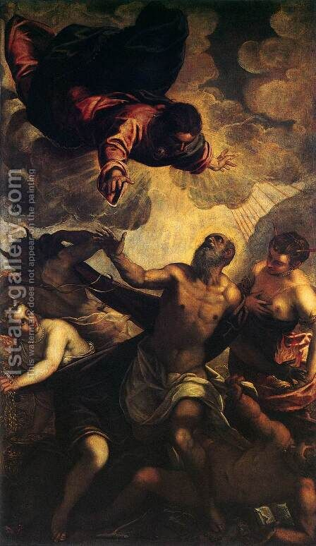The Temptation of St Anthony 2 by Jacopo Tintoretto (Robusti) - Reproduction Oil Painting
