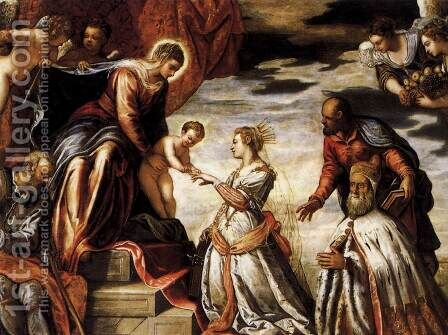 Mystic Marriage of St Catherine (detail) by Jacopo Tintoretto (Robusti) - Reproduction Oil Painting