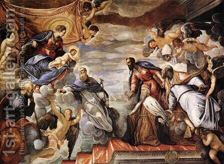 Doge Nicolo da Ponte Invoking the Protection of the Virgin by Jacopo Tintoretto (Robusti) - Reproduction Oil Painting