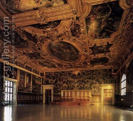 View of the Sala del Maggior Consiglio by Jacopo Tintoretto (Robusti) - Reproduction Oil Painting