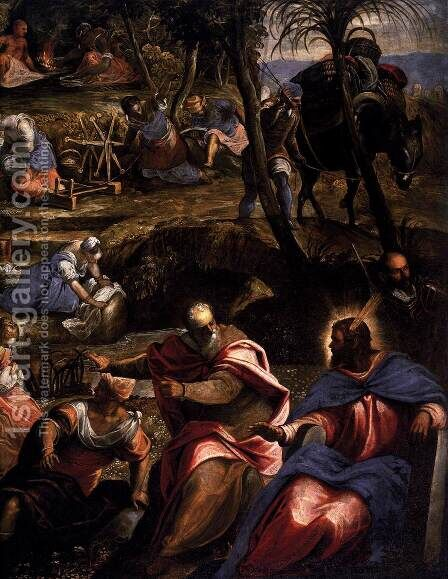 The Jews in the Desert (detail) 2 by Jacopo Tintoretto (Robusti) - Reproduction Oil Painting