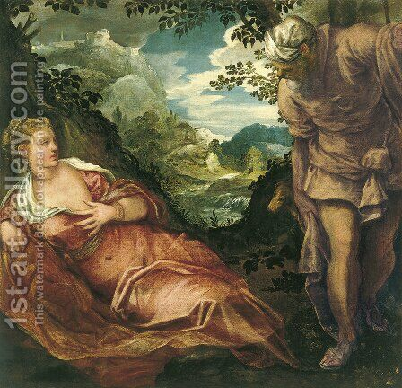 The Meeting of Tamar and Judah by Jacopo Tintoretto (Robusti) - Reproduction Oil Painting