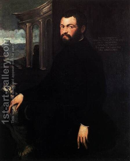 Portrait of Jacopo Sansovino 2 by Jacopo Tintoretto (Robusti) - Reproduction Oil Painting