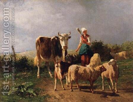 Return of the Herd by Constant Troyon - Reproduction Oil Painting