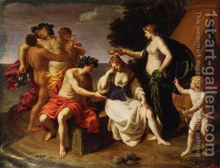 Bacchus and Ariadne 2 by Alessandro Turchi (Orbetto) - Reproduction Oil Painting