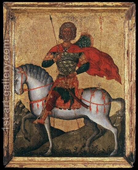 St Menas of Egypt on Horseback by Cretan Unknown Master - Reproduction Oil Painting