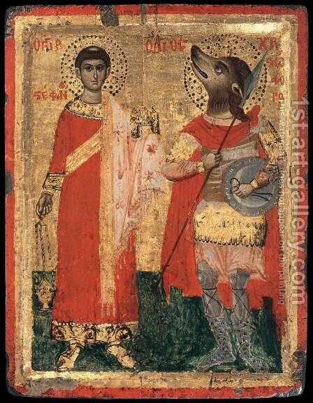 Sts Stephen and Christopher by - Unknown Painter - Reproduction Oil Painting