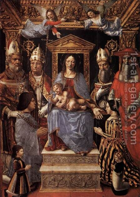Virgin and Child Enthroned with the Doctors of the Church by Italian Unknown Master - Reproduction Oil Painting