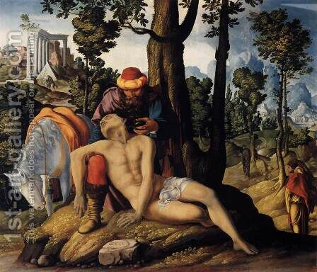 The Good Samaritan by Dutch Unknown Masters - Reproduction Oil Painting