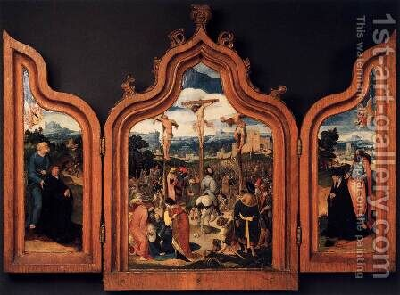 Triptych with the Crucifixion and Donors by Dutch Unknown Masters - Reproduction Oil Painting