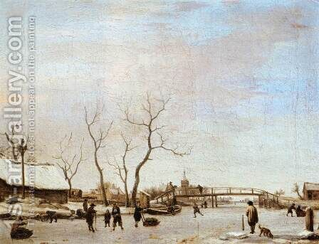 Frozen Canal with Skaters and Hockey Players by Adriaen Van De Velde - Reproduction Oil Painting