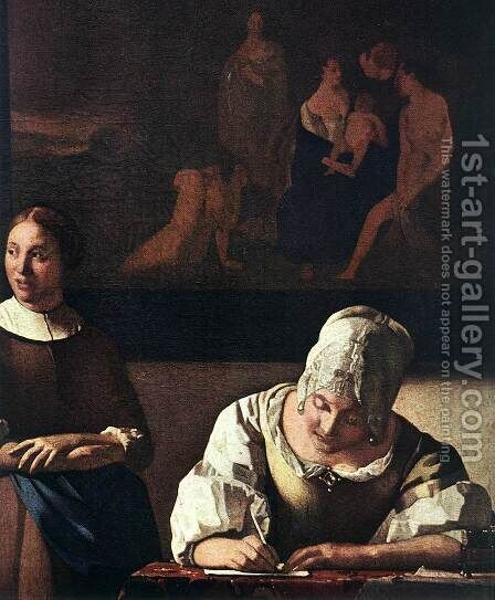 Lady Writing a Letter with Her Maid (detail) by Jan Vermeer Van Delft - Reproduction Oil Painting