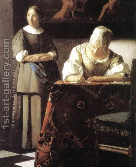 Lady Writing a Letter with Her Maid (detail) 2 by Jan Vermeer Van Delft - Reproduction Oil Painting