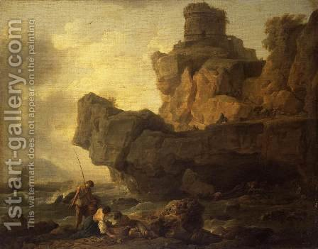 Rocks on a Seashore by Claude-joseph Vernet - Reproduction Oil Painting