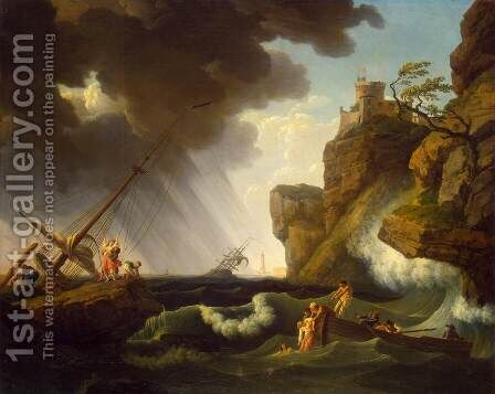 Shipwreck by Claude-joseph Vernet - Reproduction Oil Painting