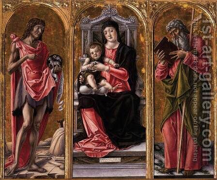 Virgin and Child with Sts John the Baptist and Andrew by Bartolomeo Vivarini - Reproduction Oil Painting