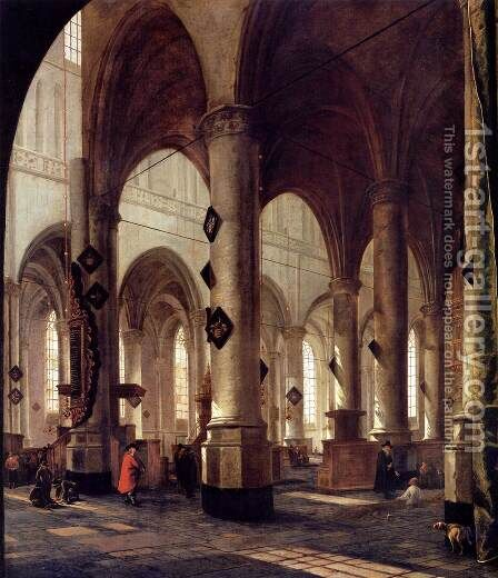 The Pieterskerk in Leiden by Hendrick Van Vliet - Reproduction Oil Painting