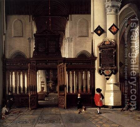 Interior of the Nieuwe Kerk, Delft, with the Memorial Tablet of Adriaen Teding v by Hendrick Van Vliet - Reproduction Oil Painting