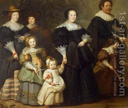 Self-Portrait of the Artist with his Wife Suzanne Cock and their Children by Cornelis De Vos - Reproduction Oil Painting