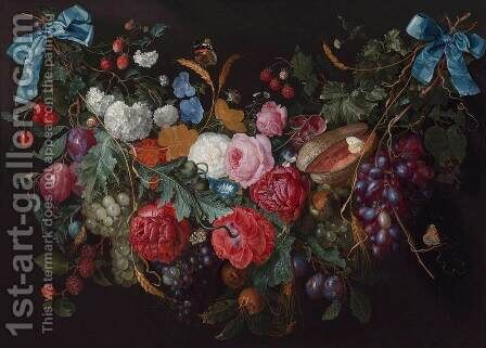 A Swag of Flowers by Jacob van Walscapelle - Reproduction Oil Painting