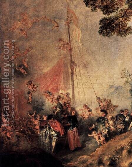 Pilgrimage to Cythera (detail) by Jean-Antoine Watteau - Reproduction Oil Painting