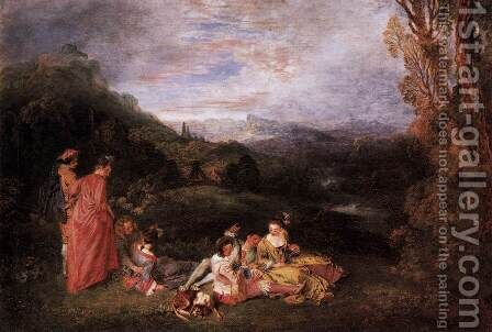 Peaceful Love by Jean-Antoine Watteau - Reproduction Oil Painting