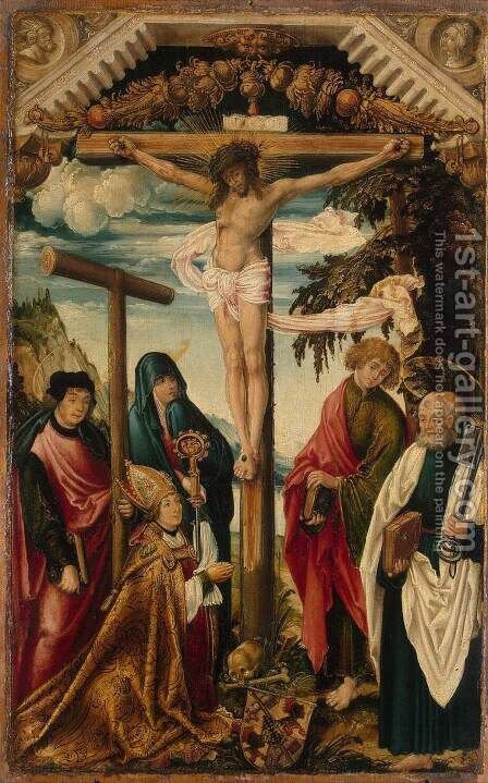 Crucifixion with Saints and Donor by Hans Wertinger - Reproduction Oil Painting