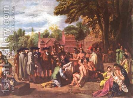 The Treaty of Penn with the Indians by Benjamin West - Reproduction Oil Painting