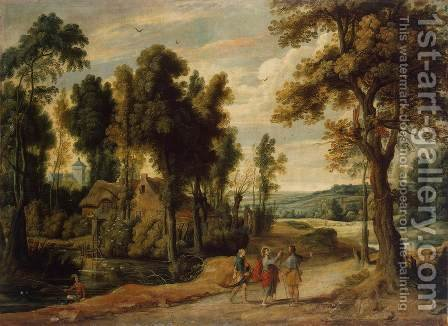 Landscape with Christ and his Disciples on the Road to Emmaus by Jan Wildens - Reproduction Oil Painting