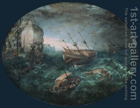 Shipwreck off a Rocky Coast 2 by Adam Willaerts - Reproduction Oil Painting