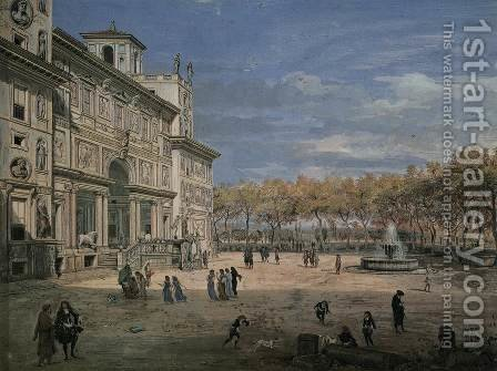 The Villa Medici and Garden in Rome by Caspar Andriaans Van Wittel - Reproduction Oil Painting