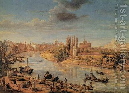 View of Rome with the Tiberand Castel Sant'Angelo by Caspar Andriaans Van Wittel - Reproduction Oil Painting
